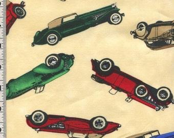 Fabric Timeless Movie star! Antique Deco CARS 20s 30s colors cream RARE C4566