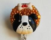 Bull Dog And His Bone ID Badge Reel - RN ID Badge Holder - Zipperedheart