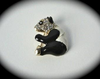 Vintage Pave PANDA Bear Brooch
