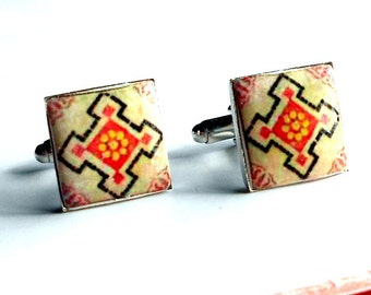 Portugal Pink Antique Tile CUFFLINKS, Replicas from OVAR  - 17mm