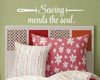 Sewing mends the soul, needle wall decal, vinyl lettering, sewing room, craft room decal, sew decal, wall words, vinyl wall decal, sewing