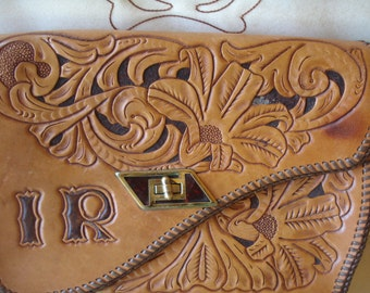 Vintage Tooled Leather Purse Leather Design  IR initials Western Accessories Vintage Cowgirl Purse