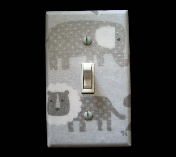 Safari Animals Light Switch Cover Lion Elephant Grey