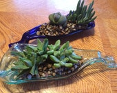 Recycled Upcycled Melted Kiln Slumped Wine Bottle Spoon Rest / Succulent Planter