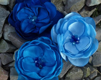 Royal Blue, Pale Blue, Sky Blue Colored Flower Hair Clips or Brooches or Bobby Pins. Set of 3