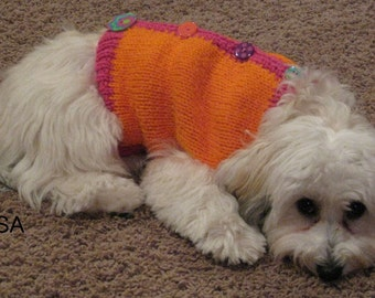 Dog Sweater, Hand Knit Pet Sweater, Size MEDIUM, Vest with Button Up Back Orange