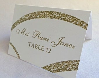 Placecard 50qty...Choose your fonts and colors...Faux Glitter