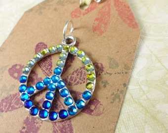 Blue Green Crystal Peace Sign Symbol Crystallized Silver Plated Pendant