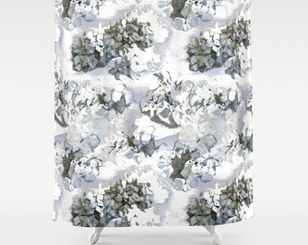 Flower shower curtain, hydrangea powder blue floral design modern gray bathroom decor decorative photo art, gray shower curtain, grey shower