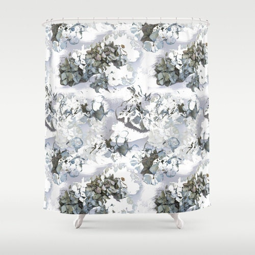 Flower Shower Curtain Hydrangea Powder Blue Floral Design