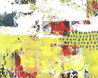 """Pale Yellow Abstract Acrylic Painting, Primary Colors, Art on Canvas, 11"""" x 14"""", Modern home decor"""