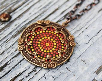 Medallion Necklace, Vintaj Jewelry, Long Pendant Necklace, Aboriginal Dot Art Inspired, Hand Painted Jewelry, Orange Necklace, Dots