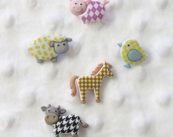 Funky Farm   Buttons Set of 5
