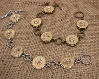 Shotgun Casing Jewelry - Simple 28 Gauge 5-Shell Silver Shotgun Casing Bracelet - Gun Jewelry - Hunting - Skeet - Trap Shooting