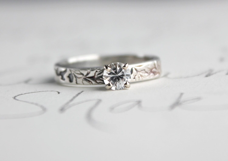 white sapphire engagement ring unique diamond alternative. Black Bedroom Furniture Sets. Home Design Ideas