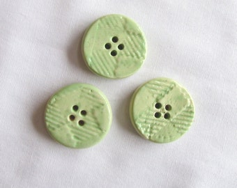 Round Light Green Textured Pottery Button Set