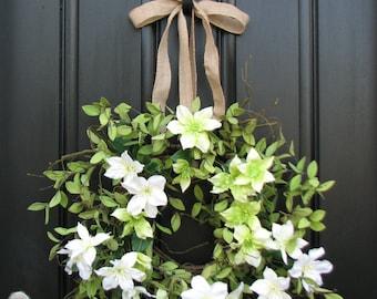Spring Summer Wreath, White Clematis, Wreaths for Summer, Summer Wreaths Front Door, Original Handmade Wreaths, Affordable Wreaths