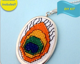 Peacock Feather Necklace - Cross Stitch DIY Kit, Embroidery Pattern, Embroidery Design, Cross Stitch Pattern, Cross Stitch Kit