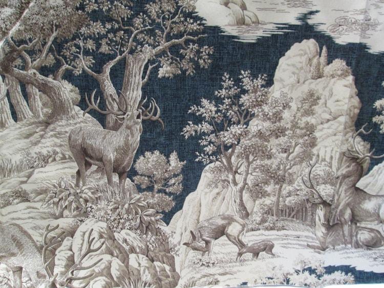 Toile Fabric Remnant Hunt Scene Toile Deer By Vintagecarolina