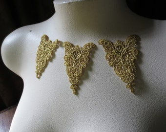SALE 3 Lace Appliques in Metallic Gold for Costumes, Bridal, Cakes, Crafts CA 614