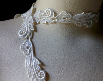 Ivory Lace Trim Venise Lace American Made for Bridal, Veils, Straps, Heirloom Sewing, Dolls Clothes, Costumes CL 3019