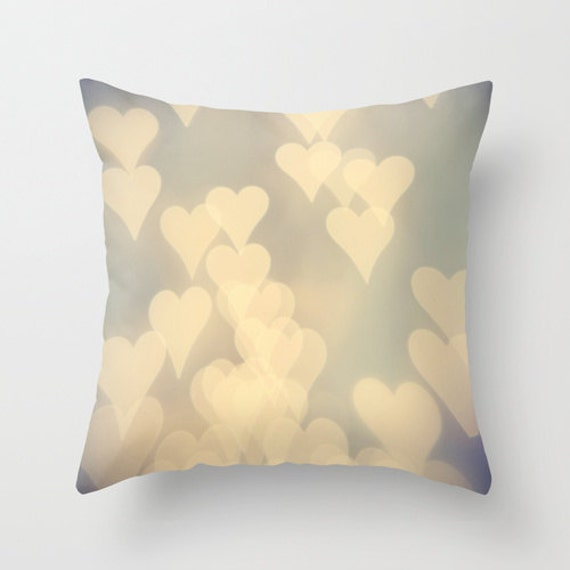 Items similar to Pillow Cover, pastel decorative pillow cover, hearts, light purple, white ...