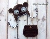 Newborn to Three Month Old Baby Bear Ear Flap Hat and Diaper Cover Set Brown and Gray