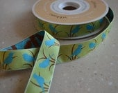 Reserved Listing for CyndeesGarden - Blue Bird Jacquard Ribbon - Mint Green, Light Turquoise Blue, Brown - 7/8""
