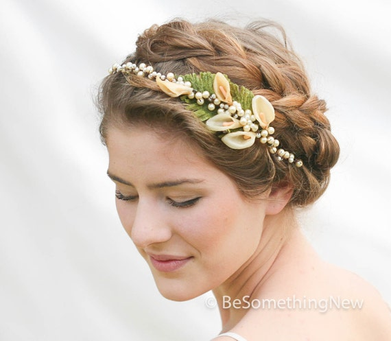 Headpieces For Wedding: Vintage Wax Flower Pearl Headpiece Vintage Wedding Headpiece