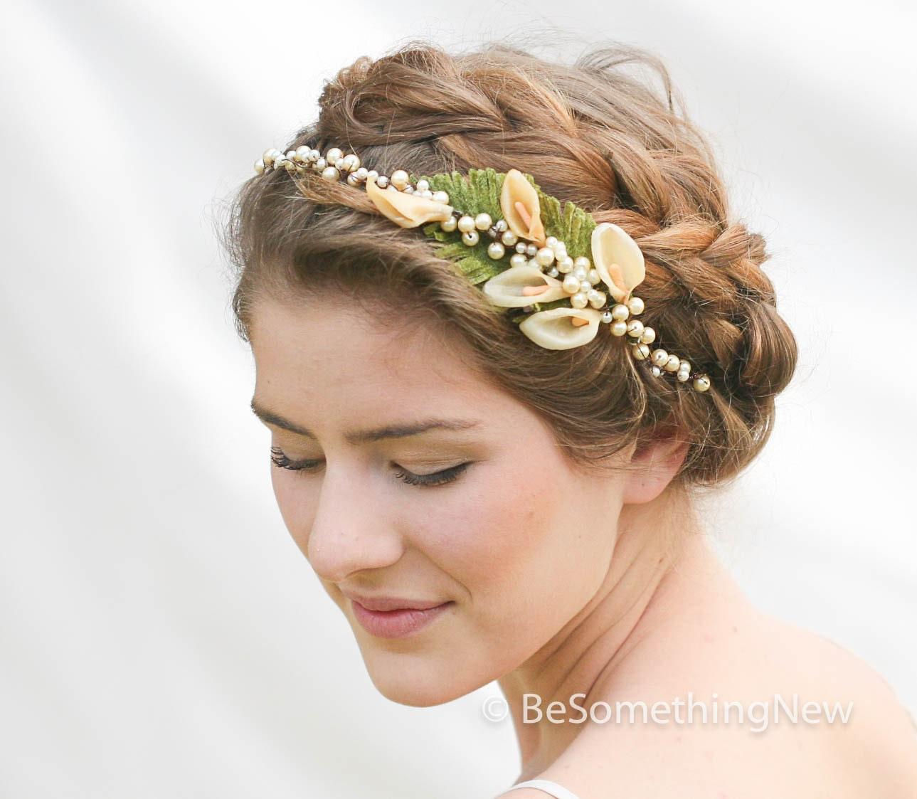 Wedding Flower Headpieces: Vintage Wax Flower Pearl Headpiece Vintage Wedding Headpiece