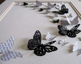 8x10 Jane Austen Upcycled 3D Butterfly Art. Pride & Prejudice or YOUR Choice of Book Text. Wall Art. Black, Off White. Made to Order