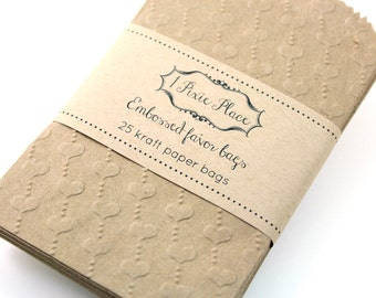 Embossed Hearts Kraft Paper Bags - Favor bags, gift wrap, treat bags - SMALL