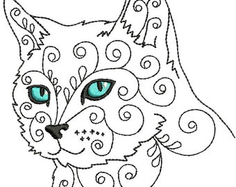 Cat #7 Machine Embroidery Design 4x4