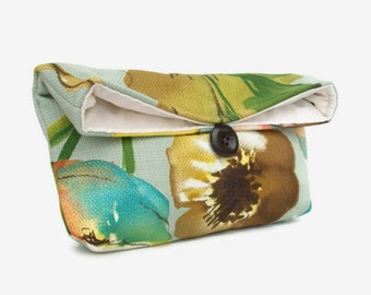 Colorful Floral on Blue Gray Clutch Purse, Green Peach, Makeup Bag, Bridesmaid Gift, Great for Travel, Gift Under 25, Makeup Costmetic Bag