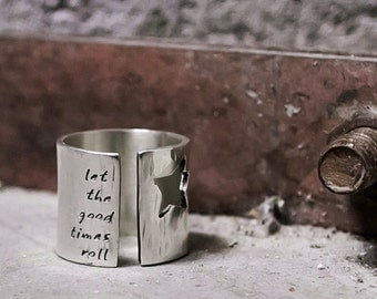 Star Ring- Silver Wide Band Ring- Rock Star Ring with Custom Personalized Words or Lyrics