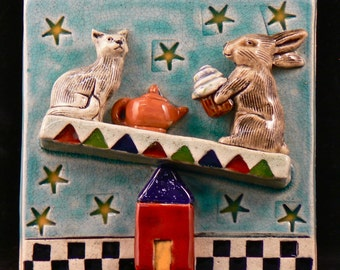 Ceramic Tile, Rabbit and Cat on See Saw