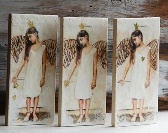 ANGELS of LOVE 3 Encaustic Photo Paintings Triptych Photography