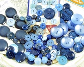 100 Assorted Vintage Plastic Buttons in Shades of Blue