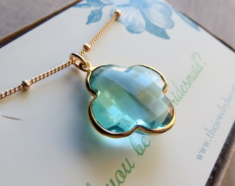 Aquamarine necklace, four leaf clover necklace, shamrock gemstone necklace, lucky pendant, bridesmaid jewelry card