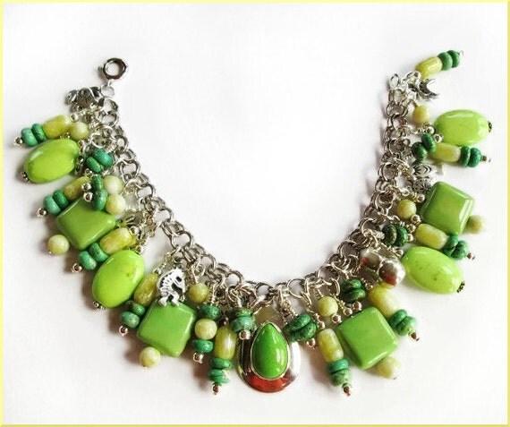 Lime Green Sterling Silver Charm Bracelet Southwestern