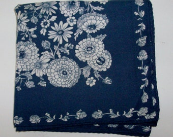 Navy and White Square Scarf with Floral Pattern by Jacqmar