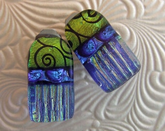Cobalt Spiral Clip Earrings, Handmade Fused Glass Jewelry from North Carolina