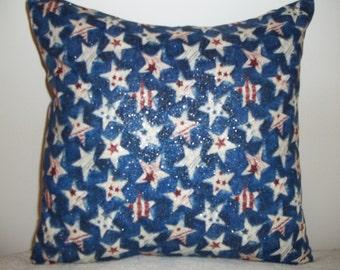 Patriotic Stars W/Metallic Pillow Covers - Set of 2