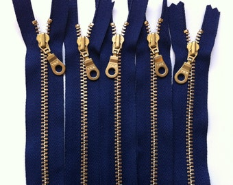 Metal Teeth Zippers-  YKK Brass Teeth and Donut Pull- Navy 919- 5 Pieces- Available in 6,7,9,12 or 18 Inch