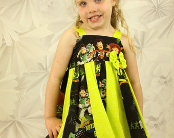 custom boutique twirl dress made with toy story fabric  size 2-6