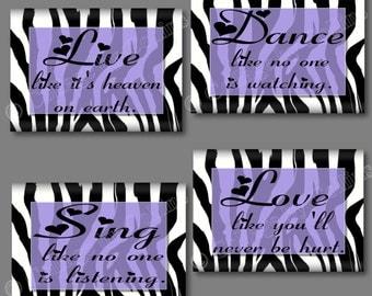PURPLE Black Zebra Print Wall Art Dance Live Love Sing Quote Girls Bedroom Bathroom Hearts Inspirational UNFRAMED Pictures Photos Nursery