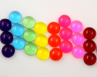 Candy Resin Cabochons - 12mm Bright Round Flatback Dome Jellybean Colorful Drop Resin or Acrylic Cabochons - 24 pcs set