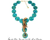 Dragon Necklace for Women in Turquoise and Gold - Dragon Jewelry Dragon Jewellery