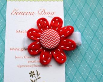 Red Chevron Hand-Stitched Felt Flower Clip