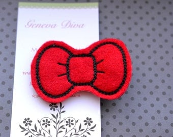 Red Hello Kitty Bow Embroidered Felt Hairclip